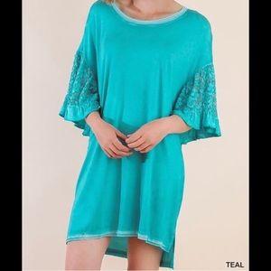 BLUHEAVEN Teal Oversized T-Shirt Dress